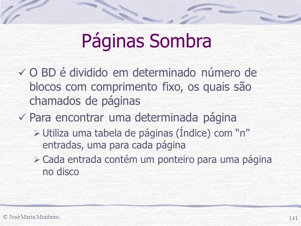 © José Maria Monteiro. 141 Páginas Sombra O BD é dividido em determinado número de blocos com comprimento fixo, os quais são chamados de páginas Para