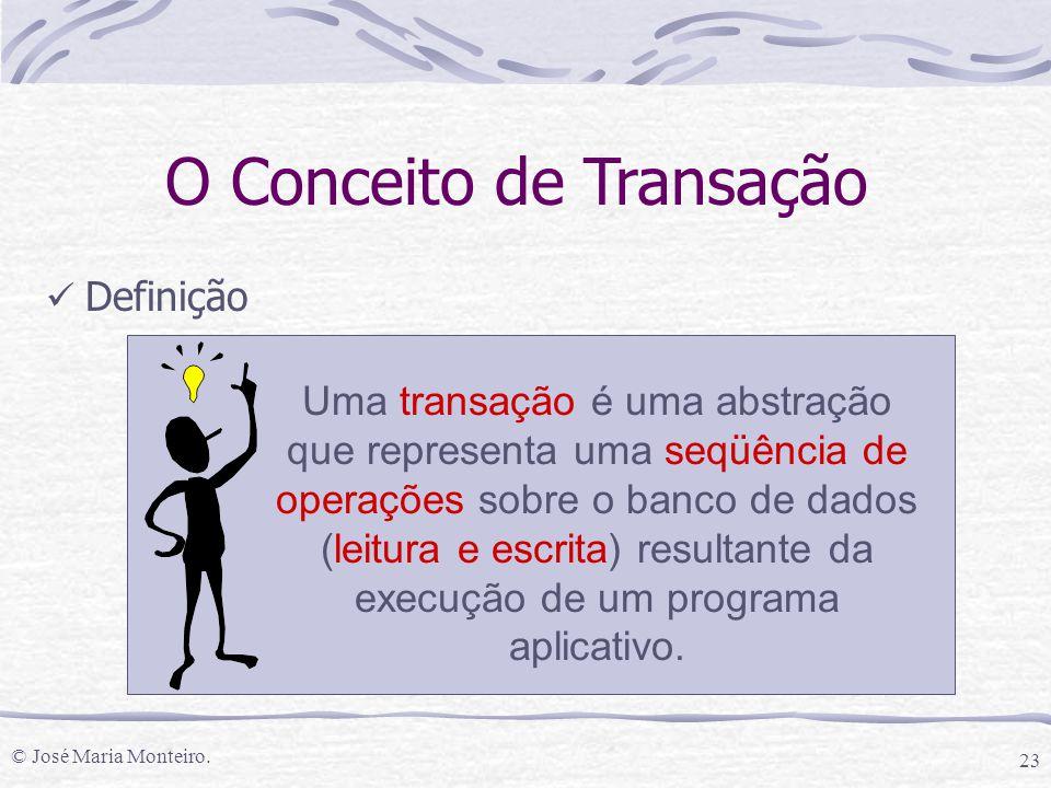 © José Maria Monteiro. 23 Definição Uma transação é uma abstração que representa uma seqüência de operações sobre o banco de dados (leitura e escrita)