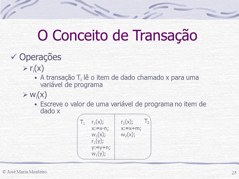 © José Maria Monteiro. 25 O Conceito de Transação Operações  r i (x) A transação T i lê o item de dado chamado x para uma variável de programa  w i