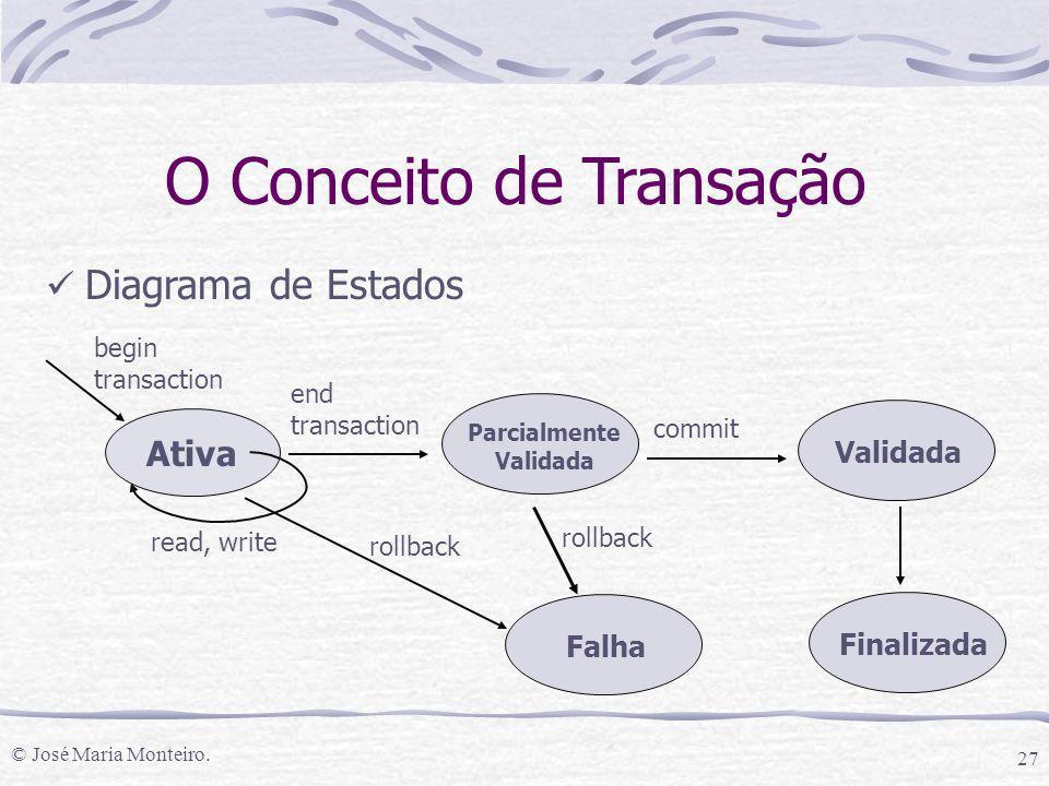 © José Maria Monteiro. 27 O Conceito de Transação Diagrama de Estados Ativa begin transaction Parcialmente Validada end transaction Validada commit Fi