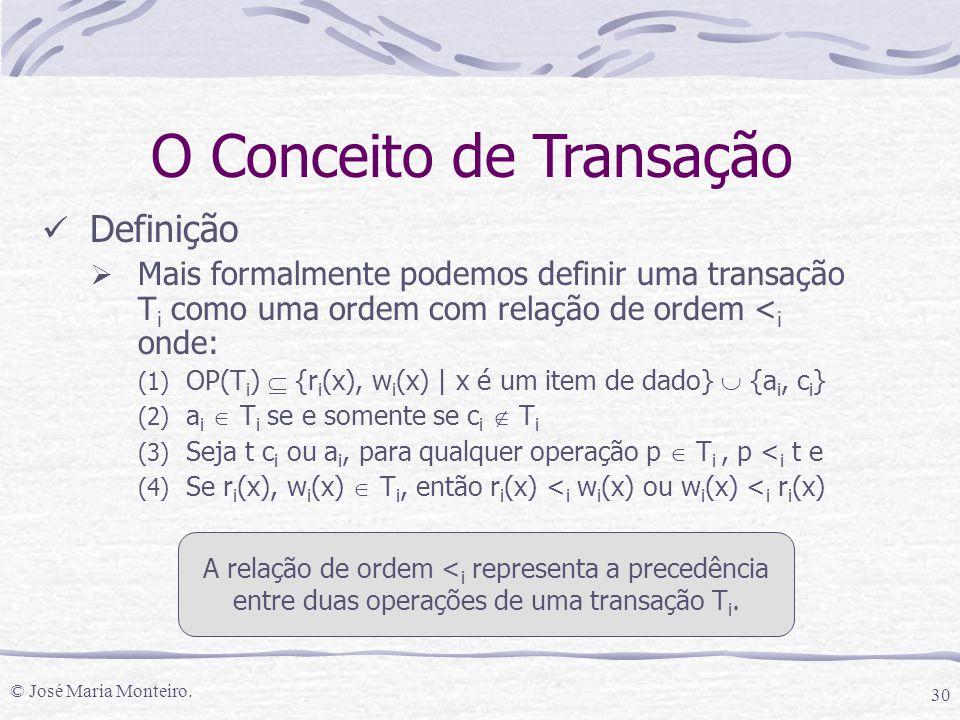 © José Maria Monteiro. 30 O Conceito de Transação Definição  Mais formalmente podemos definir uma transação T i como uma ordem com relação de ordem <