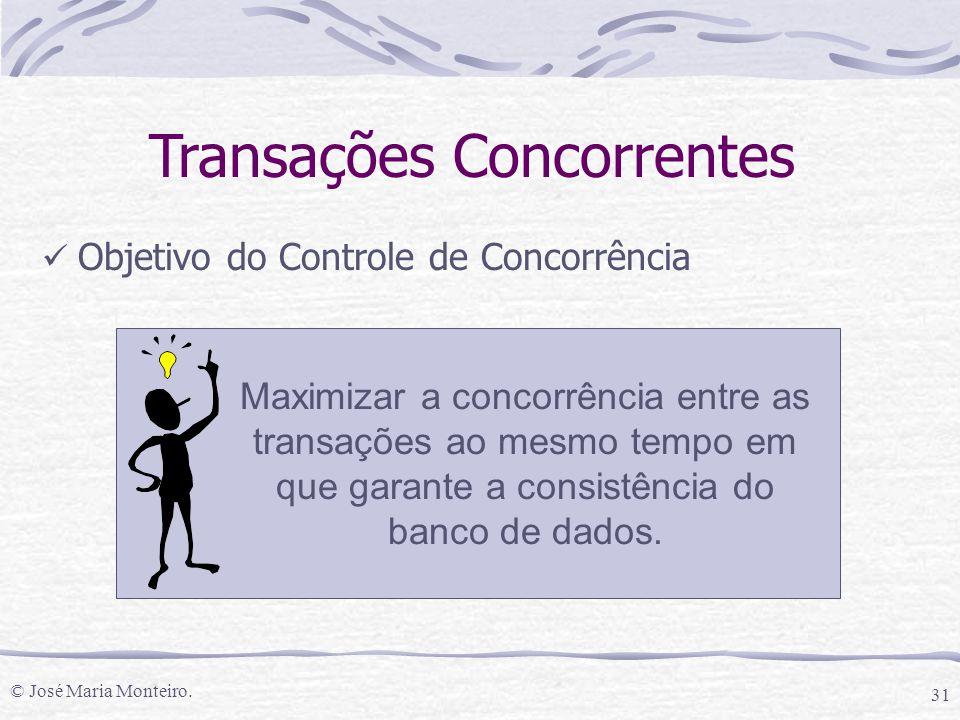 © José Maria Monteiro. 31 Objetivo do Controle de Concorrência Transações Concorrentes Maximizar a concorrência entre as transações ao mesmo tempo em