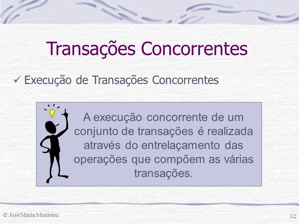 © José Maria Monteiro. 32 Execução de Transações Concorrentes Transações Concorrentes A execução concorrente de um conjunto de transações é realizada