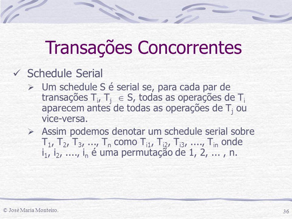 © José Maria Monteiro. 36 Schedule Serial  Um schedule S é serial se, para cada par de transações T i, T j  S, todas as operações de T i aparecem an
