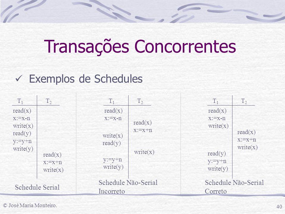 © José Maria Monteiro. 40 Transações Concorrentes Exemplos de Schedules T1T1 T2T2 read(x) x:=x-n write(x) read(y) y:=y+n write(y) read(x) x:=x+n write