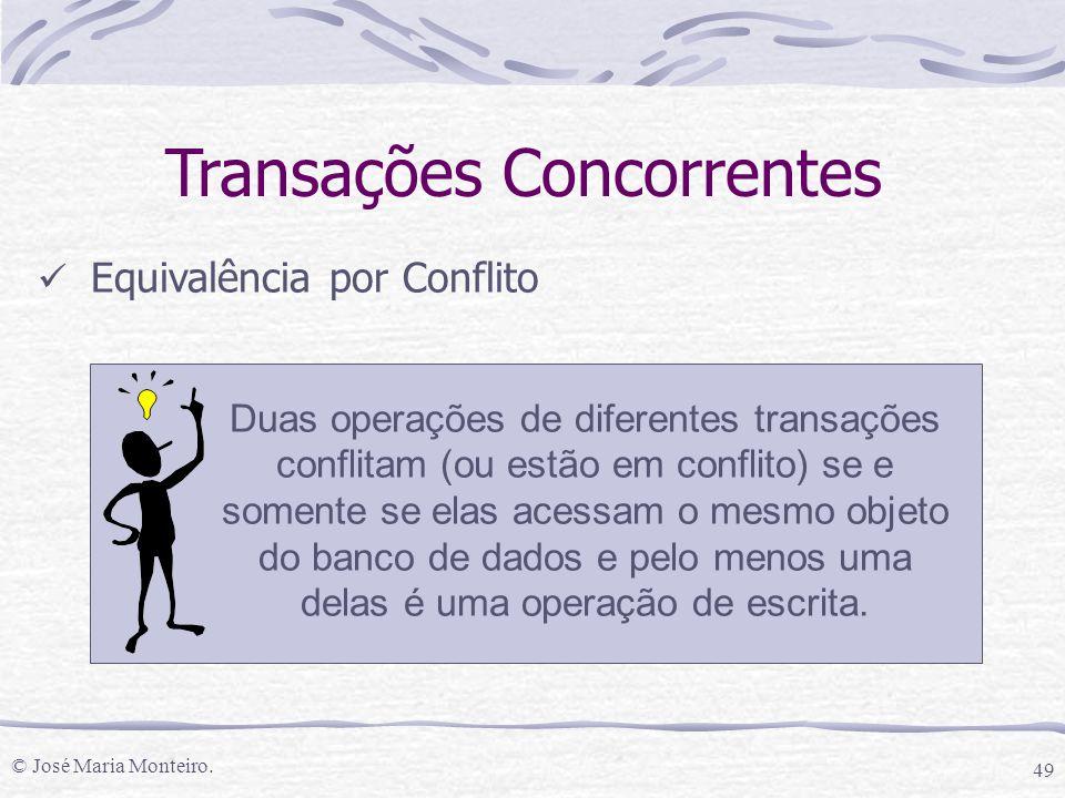 © José Maria Monteiro. 49 Transações Concorrentes Equivalência por Conflito Duas operações de diferentes transações conflitam (ou estão em conflito) s