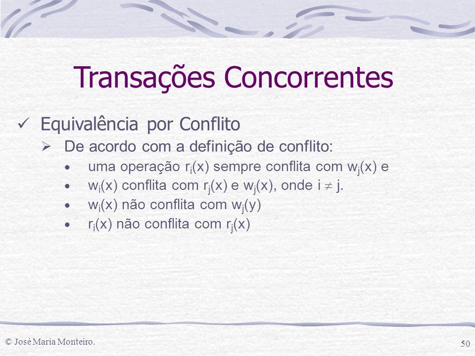 © José Maria Monteiro. 50 Transações Concorrentes Equivalência por Conflito  De acordo com a definição de conflito:  uma operação r i (x) sempre con