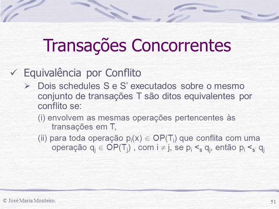 © José Maria Monteiro. 51 Transações Concorrentes Equivalência por Conflito  Dois schedules S e S' executados sobre o mesmo conjunto de transações T