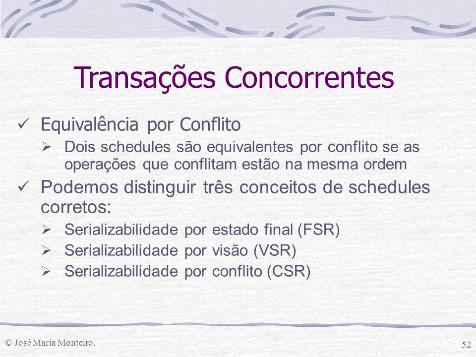 © José Maria Monteiro. 52 Transações Concorrentes Equivalência por Conflito  Dois schedules são equivalentes por conflito se as operações que conflit
