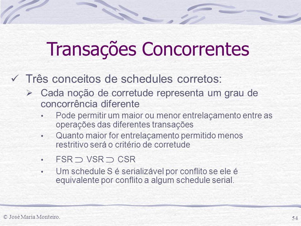 © José Maria Monteiro. 54 Transações Concorrentes Três conceitos de schedules corretos:  Cada noção de corretude representa um grau de concorrência d