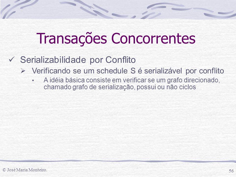 © José Maria Monteiro. 56 Transações Concorrentes Serializabilidade por Conflito  Verificando se um schedule S é serializável por conflito A idéia bá