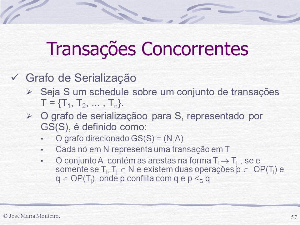 © José Maria Monteiro. 57 Transações Concorrentes Grafo de Serialização  Seja S um schedule sobre um conjunto de transações T = {T 1, T 2,..., T n }.