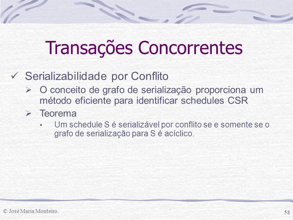 © José Maria Monteiro. 58 Transações Concorrentes Serializabilidade por Conflito  O conceito de grafo de serialização proporciona um método eficiente