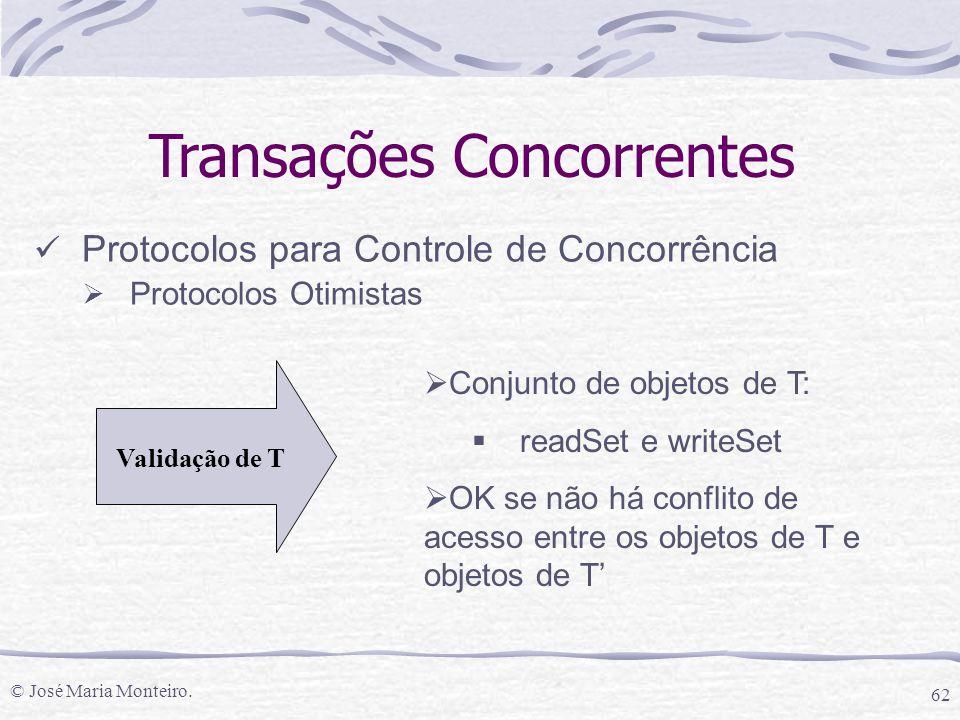 © José Maria Monteiro. 62 Transações Concorrentes Protocolos para Controle de Concorrência  Protocolos Otimistas Validação de T  Conjunto de objetos