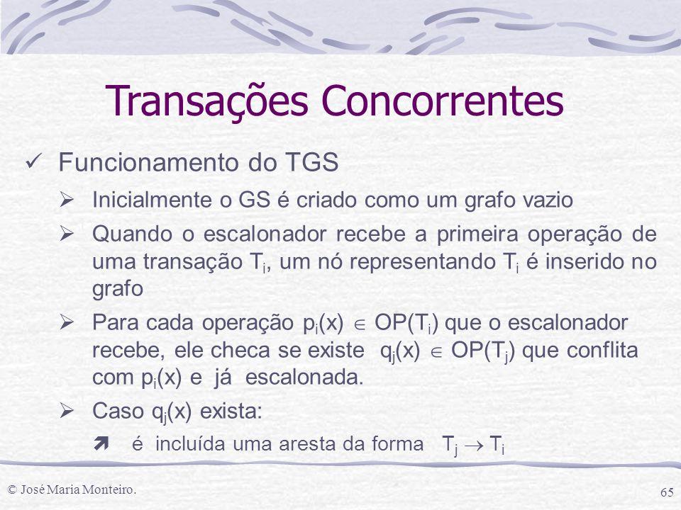 © José Maria Monteiro. 65 Transações Concorrentes Funcionamento do TGS  Inicialmente o GS é criado como um grafo vazio  Quando o escalonador recebe