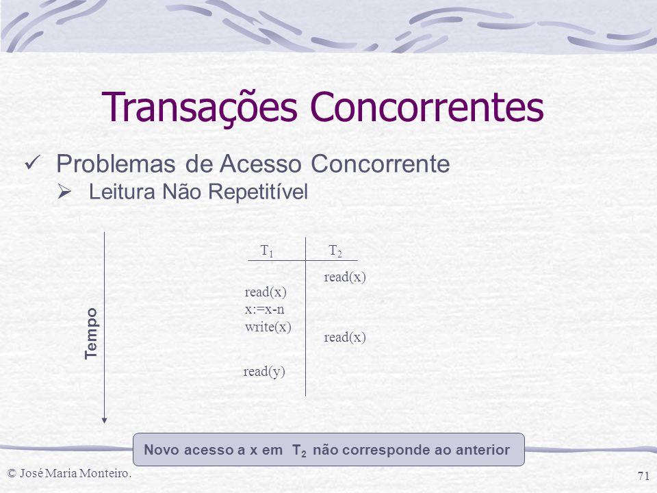 © José Maria Monteiro. 71 Transações Concorrentes Problemas de Acesso Concorrente  Leitura Não Repetitível T1T1 T2T2 read(x) x:=x-n write(x) read(x)