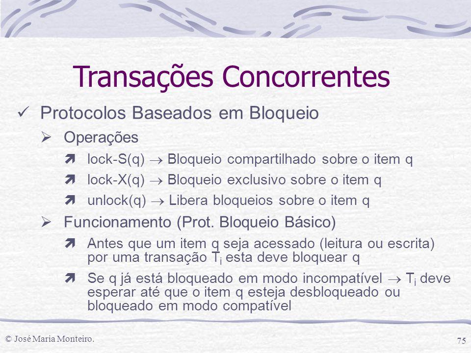 © José Maria Monteiro. 75 Transações Concorrentes Protocolos Baseados em Bloqueio  Operações ìlock-S(q)  Bloqueio compartilhado sobre o item q ìlock