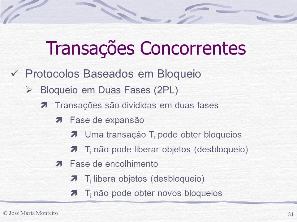 © José Maria Monteiro. 81 Transações Concorrentes Protocolos Baseados em Bloqueio  Bloqueio em Duas Fases (2PL) ìTransações são divididas em duas fas