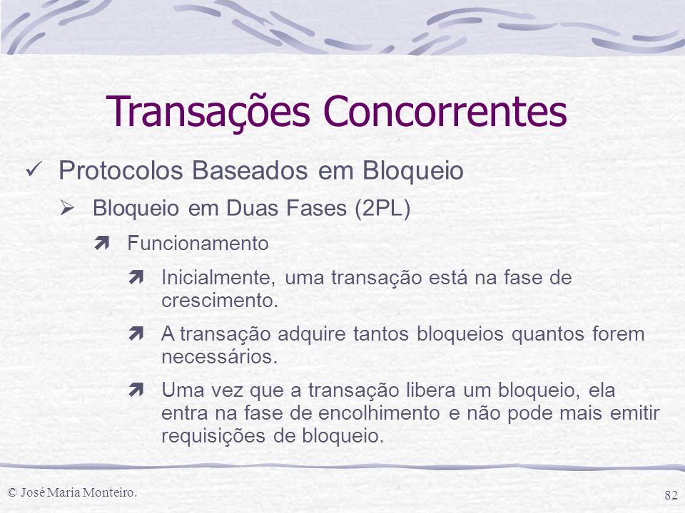 © José Maria Monteiro. 82 Transações Concorrentes Protocolos Baseados em Bloqueio  Bloqueio em Duas Fases (2PL) ìFuncionamento ìInicialmente, uma tra