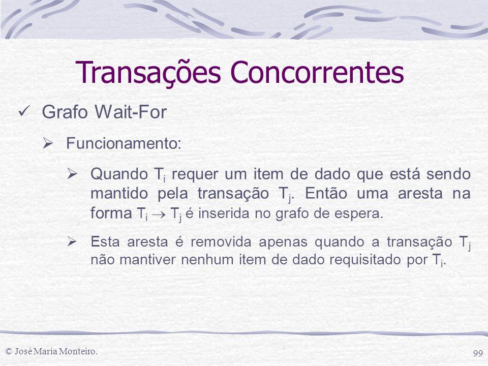 © José Maria Monteiro. 99 Transações Concorrentes Grafo Wait-For  Funcionamento:  Quando T i requer um item de dado que está sendo mantido pela tran