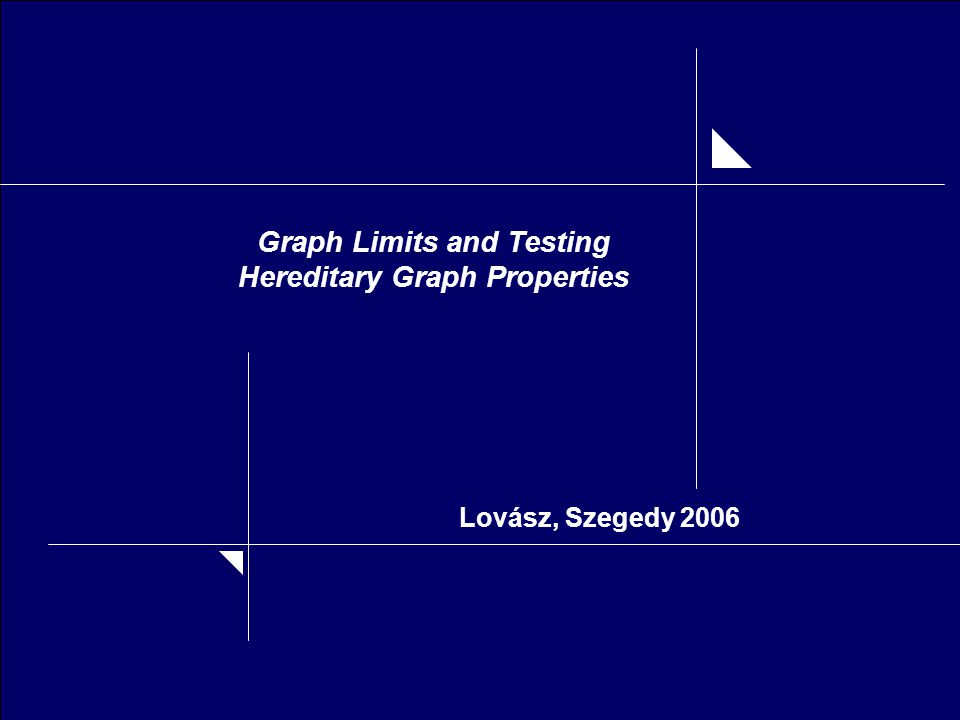 Graph Limits and Testing Hereditary Graph Properties Lovász, Szegedy 2006