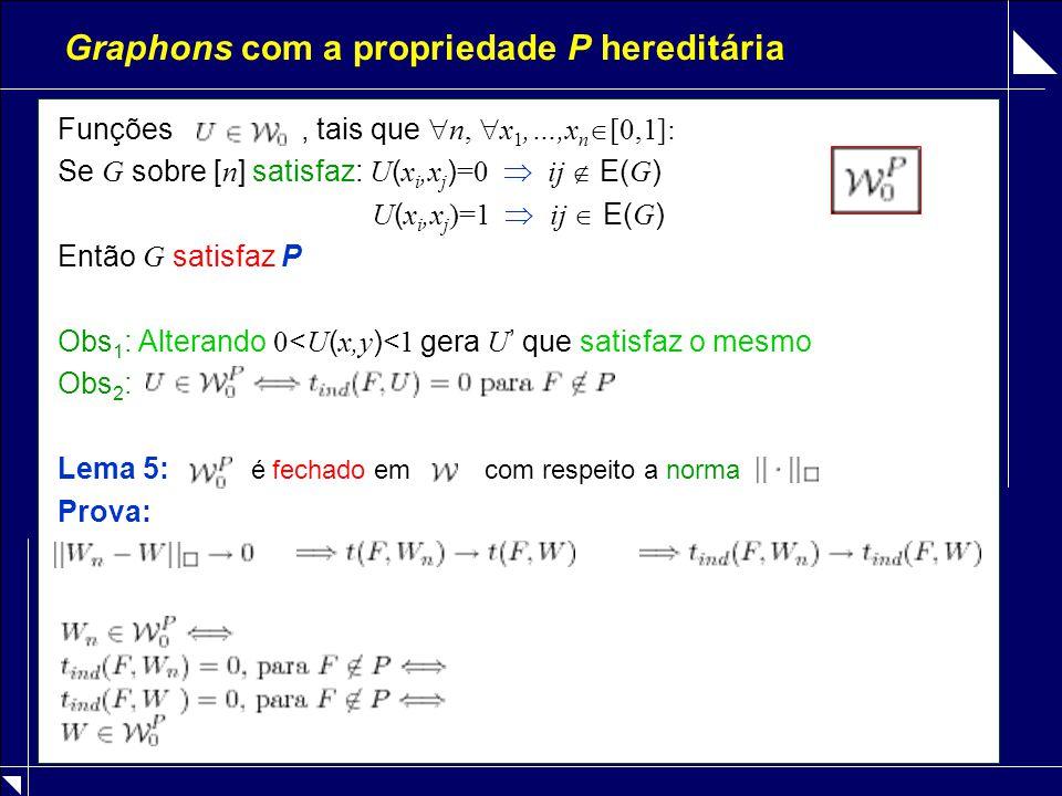 Graphons com a propriedade P hereditária Funções, tais que  n,  x 1,…,x n  [0,1]: Se G sobre [ n ] satisfaz: U ( x i,x j ) =0  ij  E( G ) U ( x i