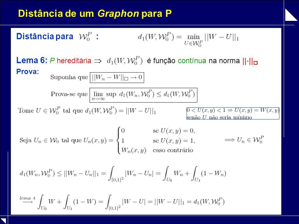 Distância de um Graphon para P Distância para : Lema 6: P hereditária  é função contínua na norma ||  ||  Prova: