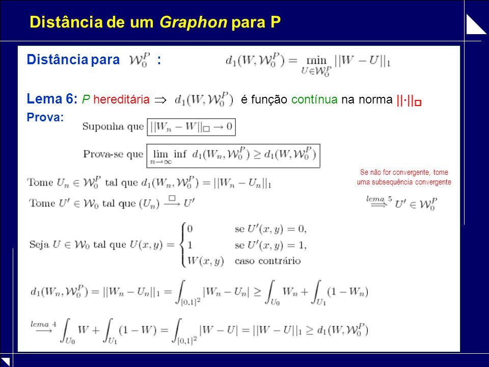 Distância de um Graphon para P Distância para : Lema 6: P hereditária  é função contínua na norma ||  ||  Prova: Se não for convergente, tome uma s