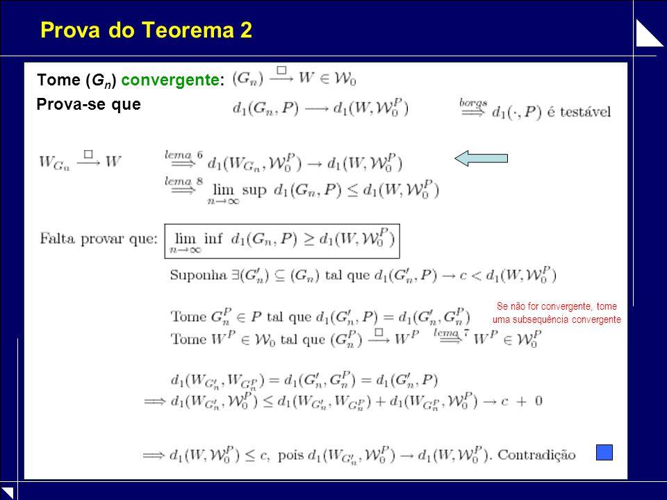 Prova do Teorema 2 Tome (G n ) convergente: Prova-se que Se não for convergente, tome uma subsequência convergente