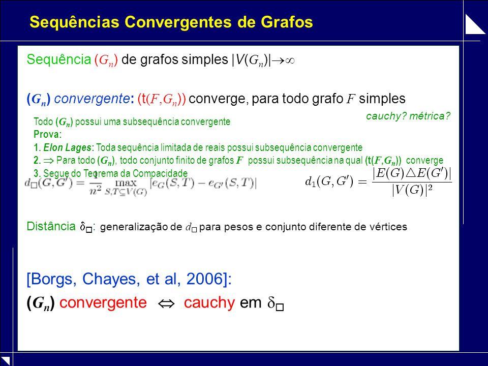 Sequências Convergentes de Grafos Sequência ( G n ) de grafos simples |V( G n )|  ( G n ) convergente: (t (F,G n )) converge, para todo grafo F simp
