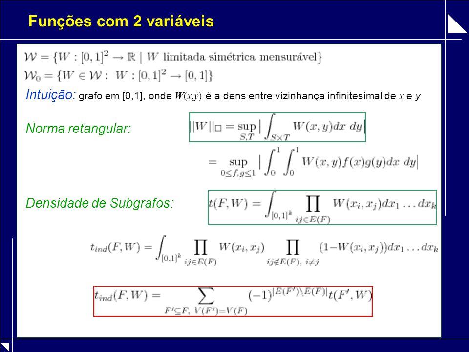 Relação, Graphons e Step-Functions [Lovász, Szegedy 2004]: ( G n ) convergente se e só se existe objeto limite tal que Obs: Todo é limite de uma ( G n ) convergente W -random graph G(n,W) sobre [n] : sorteia x 1,…x n : ij aresta com prob.