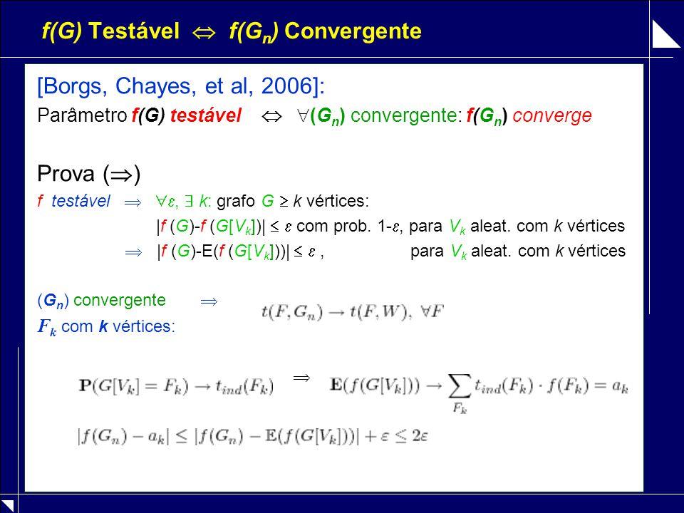 f(G) Testável  f(G n ) Convergente [Borgs, Chayes, et al, 2006]: Parâmetro f(G) testável   (G n ) convergente: f(G n ) converge Prova (  ) f testá