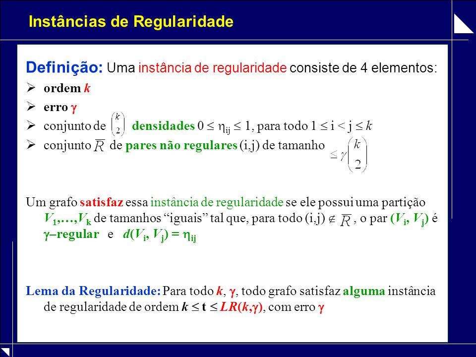 Instâncias de Regularidade Definição: Uma instância de regularidade consiste de 4 elementos:  ordem k  erro   conjunto de densidades 0   ij  1,