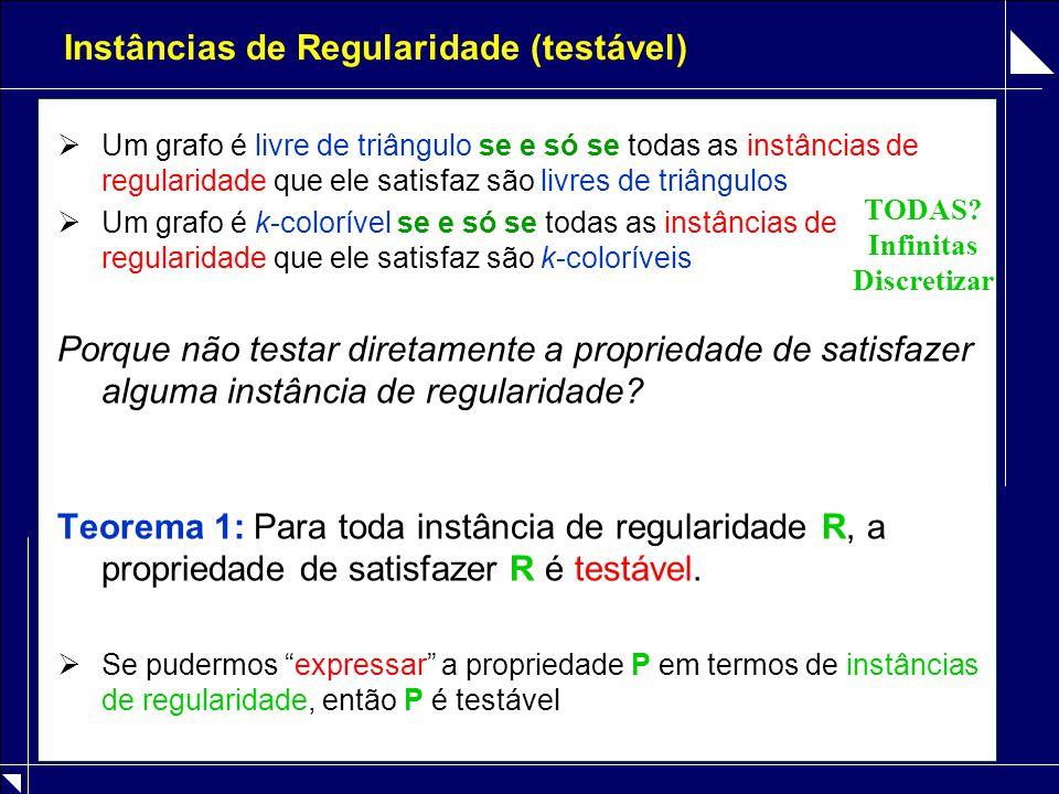 Instâncias de Regularidade (testável)  Um grafo é livre de triângulo se e só se todas as instâncias de regularidade que ele satisfaz são livres de tr