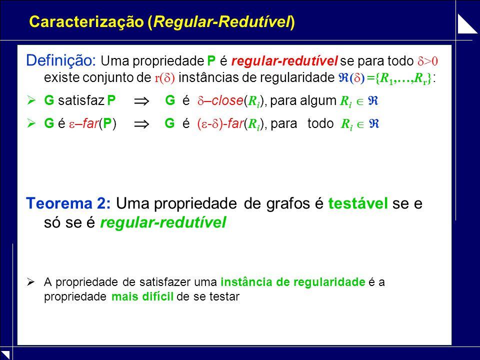 Caracterização (Regular-Redutível) Definição: Uma propriedade P é regular-redutível se para todo  >0 existe conjunto de r(  ) instâncias de regularidade  (  ) ={R 1,…,R r } :  G satisfaz P  G é  –close( R i ), para algum R i    G é  –far(P)  G é (  -  )-far( R i ), para todo R i   Teorema 2: Uma propriedade de grafos é testável se e só se é regular-redutível  A propriedade de satisfazer uma instância de regularidade é a propriedade mais difícil de se testar
