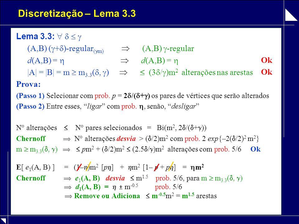 Discretização – Lema 3.3 Lema 3.3:     (A,B) (  +  )-regular (  m)  (A,B)  -regular d(A,B) =   d(A,B) =  |A| = |B| = m  m 3.3 ( ,  )   (3  /  )m 2 alterações nas arestas Prova: (Passo 1) Selecionar com prob.