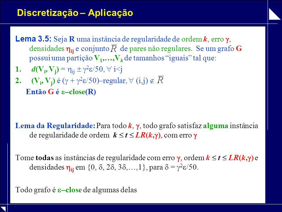 Discretização – Aplicação Lema 3.5: Seja R uma instância de regularidade de ordem k, erro , densidades  ij e conjunto de pares não regulares. Se um