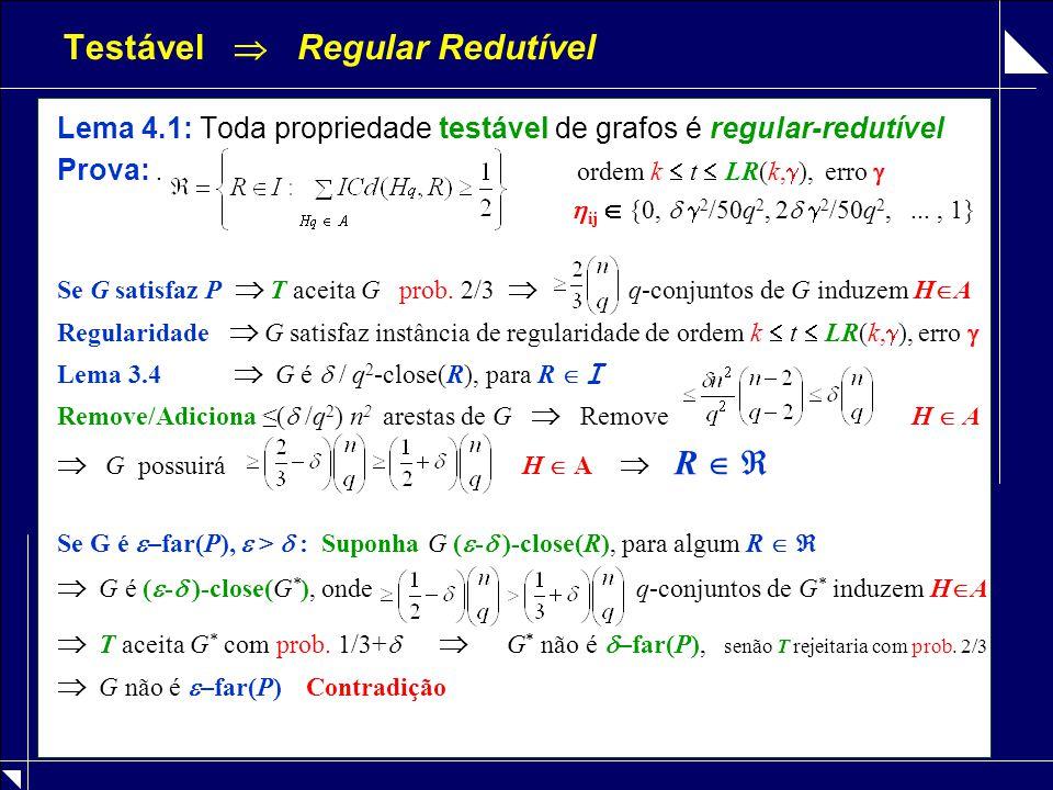 Testável  Regular Redutível Lema 4.1: Toda propriedade testável de grafos é regular-redutível Prova:. ordem k  t  LR(k,  ), erro   ij  {0,  