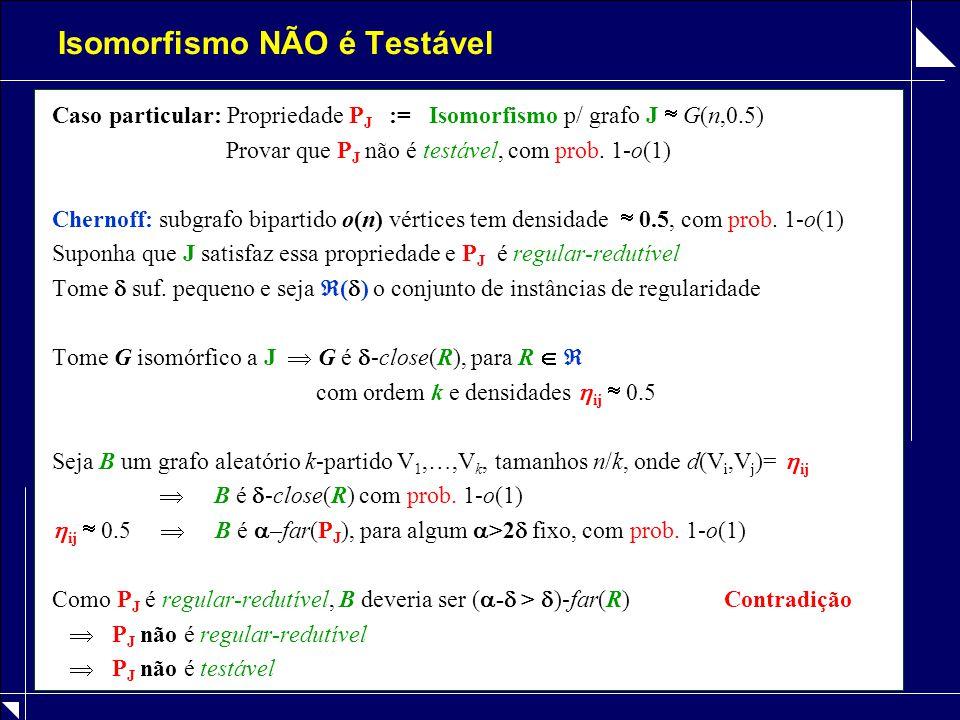 Isomorfismo NÃO é Testável Caso particular: Propriedade P J := Isomorfismo p/ grafo J  G(n,0.5) Provar que P J não é testável, com prob. 1-o(1) Chern