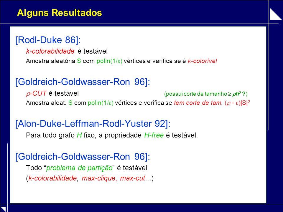 Alguns Resultados [Rodl-Duke 86]: k-colorabilidade é testável Amostra aleatória S com polin(1/  ) vértices e verifica se é k-colorível [Goldreich-Goldwasser-Ron 96]:  -CUT é testável (possui corte de tamanho   n 2 ) Amostra aleat.