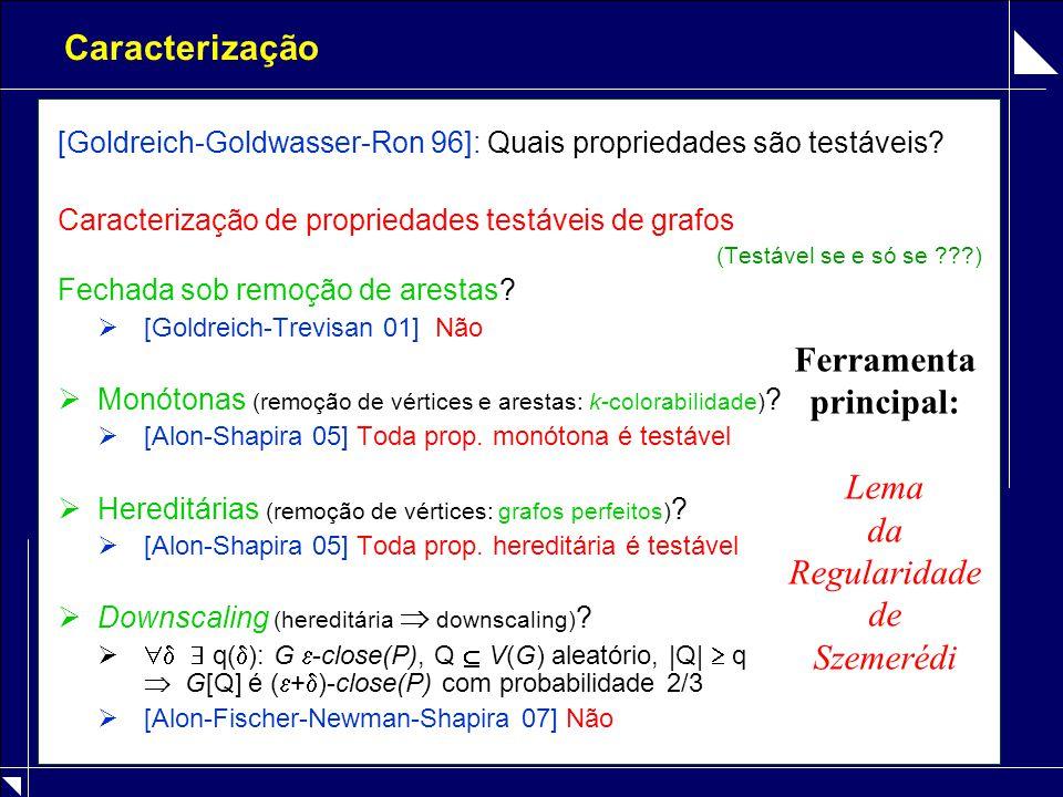 Caracterização [Goldreich-Goldwasser-Ron 96]: Quais propriedades são testáveis? Caracterização de propriedades testáveis de grafos (Testável se e só s