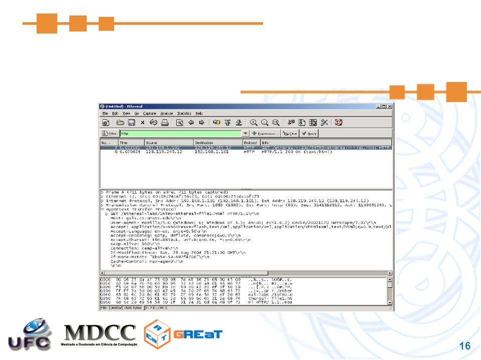 17 Internet protocol stack Aplicação  FTP, SMTP, HTTP Transporte  TCP, UDP Rede  IP Enlace  Ethernet Física  bits on the wire application transport network link physical