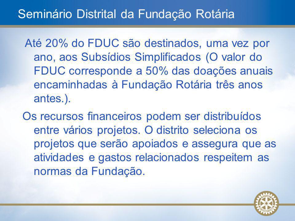 18 Até 20% do FDUC são destinados, uma vez por ano, aos Subsídios Simplificados (O valor do FDUC corresponde a 50% das doações anuais encaminhadas à F