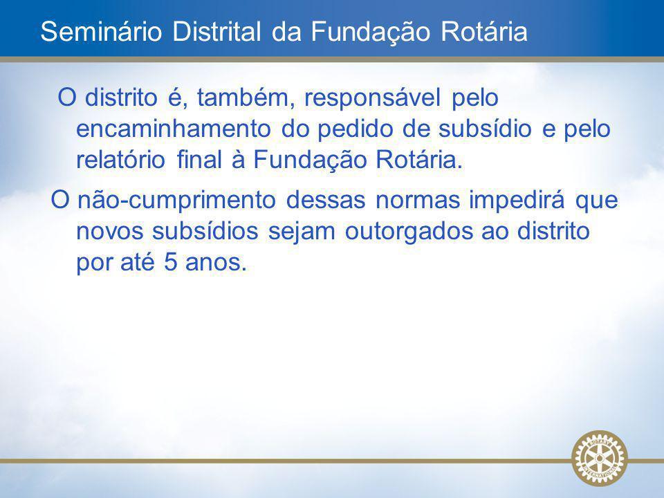 19 O distrito é, também, responsável pelo encaminhamento do pedido de subsídio e pelo relatório final à Fundação Rotária. O não-cumprimento dessas nor