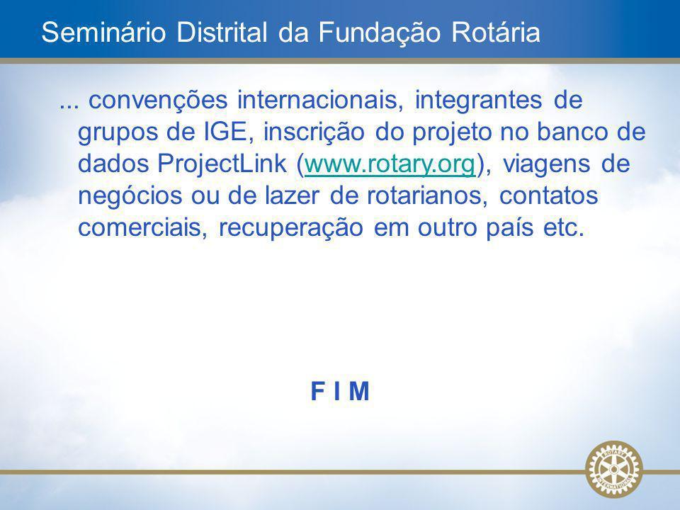 22... convenções internacionais, integrantes de grupos de IGE, inscrição do projeto no banco de dados ProjectLink (www.rotary.org), viagens de negócio
