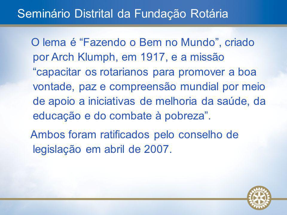 15 Pergunta nº 6: Quais são as categorias de programas da Fundação Rotária e quais os programas que as compõem.