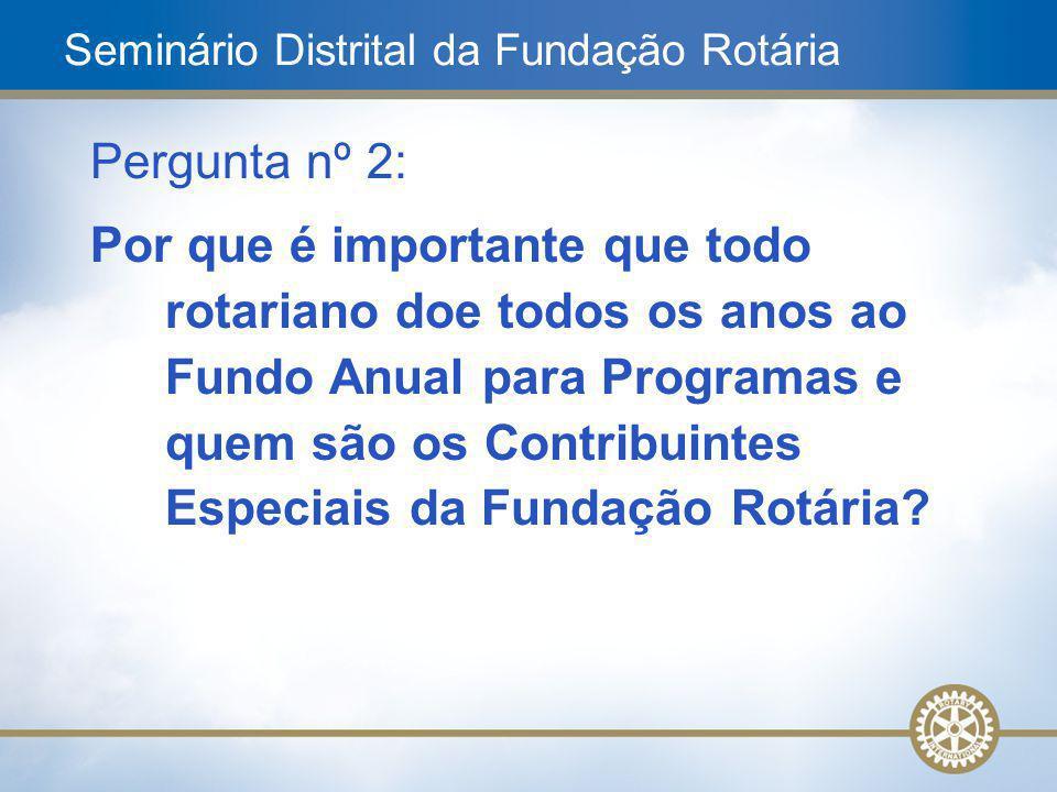 5 Pergunta nº 2: Por que é importante que todo rotariano doe todos os anos ao Fundo Anual para Programas e quem são os Contribuintes Especiais da Fund