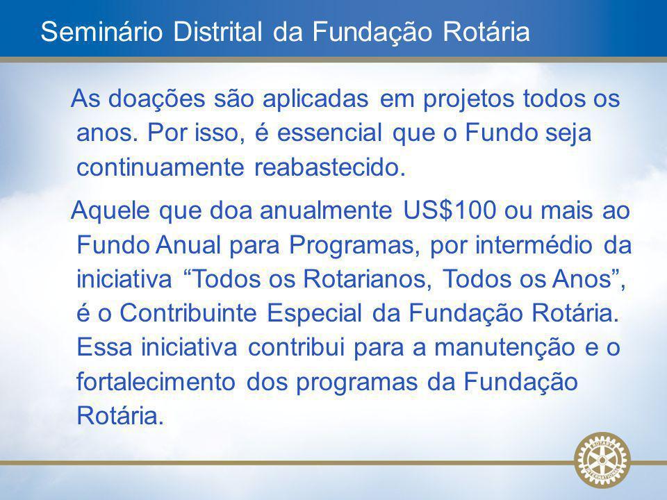 6 As doações são aplicadas em projetos todos os anos. Por isso, é essencial que o Fundo seja continuamente reabastecido. Aquele que doa anualmente US$