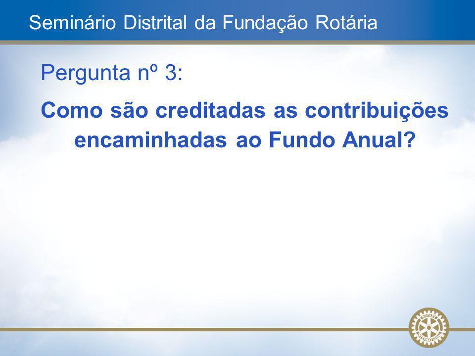 7 Pergunta nº 3: Como são creditadas as contribuições encaminhadas ao Fundo Anual? Seminário Distrital da Fundação Rotária