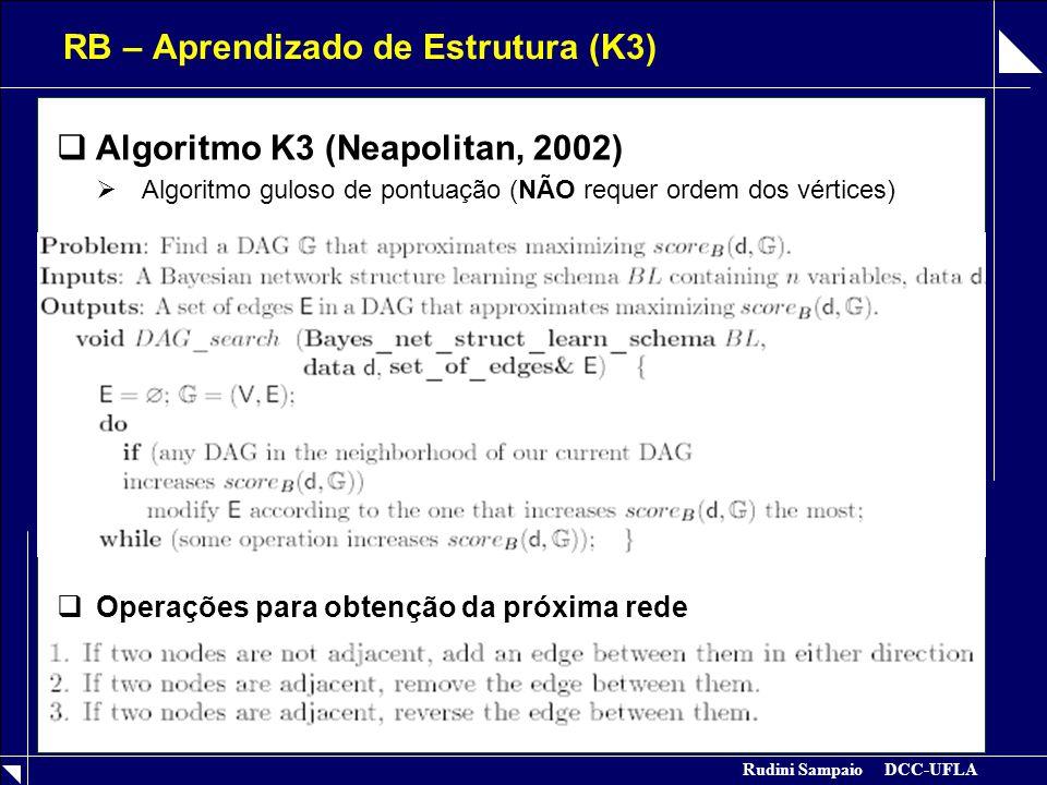 Rudini Sampaio DCC-UFLA RB – Aprendizado de Estrutura (K3)  Algoritmo K3 (Neapolitan, 2002)  Algoritmo guloso de pontuação (NÃO requer ordem dos vér